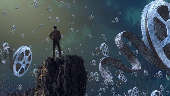 2d illustration. Abstract dreamlike motivational image. Illustration of person being in a dream in imaginary world. Movie making and cinematography