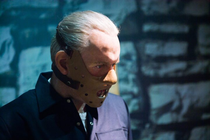 AMSTERDAM, NETHERLANDS - JUN 1, 2015 Anthony Hopkins as Hannibal Lecter in the Madame Tussauds museum in Amsterdam. Marie Tussaud was born as Marie Grosholtz in 1761